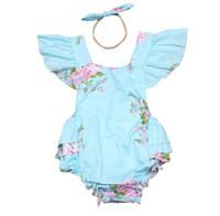 ingrosso tuta di fiori blu-Ins Baby Girl Print Flower Pagliaccetti Cute Floral Lace Tute Hollow Back + Fascia Due pezzi Set Toddler Cotton Soft Blue Tute 3367