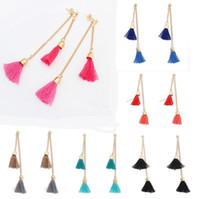 Femmes Vintage Thread Tassel Fringe Earrings Drop Dangle Long Chain Ear Stud Gift