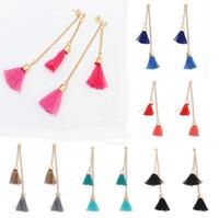 Wholesale Threaded Earrings Wholesale - Women Vintage Thread Tassel Fringe Earrings Drop Dangle Long Chain Ear Stud Gift