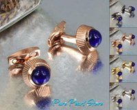 Wholesale T Cuff Links - C-T-R High Quality Best Design AAA+ Blue Stone and Cone Shape Famous Brand Cufflinks