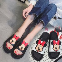 Wholesale Black Rubber Flip Flops - Hot Sale Womens Mickey Mouse Black Slippers Soft White Leather Carton Sandals For Girls 2017 Fashion Rubber Flat Flip Flops