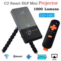 Wholesale Hd Games For Pc - Wholesale- Portable Mini Projectors C2 DLP Projector Full HD 1080P 1000 Lumens HD 1GB+16GB for Home Theatre PC Laptop Video Games TV Family