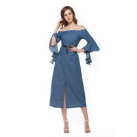 Midi Dresses split vertical - New designer Fashion Women Sexy Off shoulder sleeve Blue Vertical Striped Front Split Casual party mid calf dress