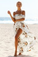 Wholesale Slash Clothes - 2017 Summer Women's Print Slash Neck Off Shoulder Bohemian Beach Dress Casual Long Maxi Women Split Dresses Clothing