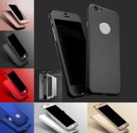 vidrio iphone 5s espalda al por mayor-Híbrido Funda protectora de cobertura de cuerpo completo de 360 grados PC Tapa trasera dura con pantalla de vidrio templado para iPhone 7 6S Plus SE 5S Samsung S8 S7