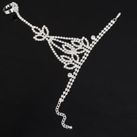 Wholesale Charms Lobster Ring - New Fashion Bridal Wedding Chain Bracelet Womens Jewelry Rhinestone Bracelets with Finger Ring Slave Chain rhinestone chain bracelet wedding