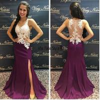 königliches purpurrotes reizvolles abschlussballkleid großhandel-Regency Purple Split Long Prom Dresses V-Ausschnitt Illusion Mieder Applikationen Satin Bodenlangen Royal Blue Mermaid Abendkleider