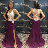 ingrosso vestiti viola viola reggenza-Regency Purple Split Prom Dresses V Neck Illusion Corpetto Appliques Satin Floor Length Royal Blue Sirena abiti da sera
