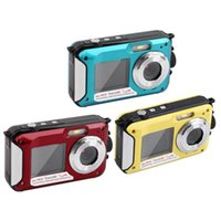 Wholesale Double Dvr Camera - 24MP Double Screens Waterproof Anti-shake Digital Camera (2.7+1.8 inch) Full HD 1080P 16x Zoom Camcorder DVR Blue Red Yellow
