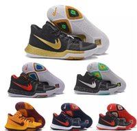 Wholesale Bright Color Shoes - New Black Gold Basketball Shoes Kyrie3 Bright Crimson Tie Dye BHM All Star Basketball Kids Shoes High Quality
