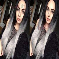 pelo largo y liso plateado al por mayor-Top Fashion Silky Straight Ombre gris peluca sintética del frente del cordón Glueless Long Ombre Dark Roots / Silver Grey pelucas resistentes al calor del pelo de la mujer
