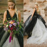 Wholesale Vintage Bridal Wear - Vintage 2017 Black and White Wedding Dress Gothic Deep V Neck Sleeveless Lace Top Tulle Skirt Beach Bridal Gowns Backless Brides Wear