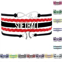Wholesale Wrap Bracelet Wholesaler - Custom-Infinity Love Softball Charm Wrap Team Bracelets For Women Men A Wide Variety Of Colors Leather Bracelet Jewelry