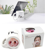 Wholesale China Porcelain Box - Wholesale- Christmas Gift 1pcs Personalized Pig Nose Water Coffee Drinking Caneca Funny Ceramic Piggy Mug with Gift Box White Porcelain cup