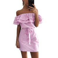 Wholesale Stripes Party Mini Dress - New 2017 Women Ruffles Summer Dress Stripe Print Off Shoulder Elastic Slash Neck Mini Dress Tie Plus Size Casual Party Beach Dresses DK0540B