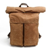 Wholesale waxed backpack - Oil wax canvas double shoulder bag retro concise tide personality backpack