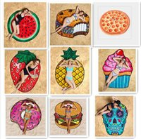 Wholesale 20pcs Summer Large CM Round Beach Towel Burger Pizza Donuts Pattern Microfiber Bath blanket Outdoor Sun Block Shawl Yoga Cushion