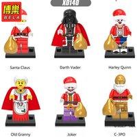 Wholesale Blocks Santa - 480pcs New Christmas Mini Dolls X0140 Santa Claus Old Granny Joker C-3PO Harley Quinn Darth Vader Building Blocks Toys