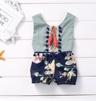 Wholesale Children Girl Flower Jumpsuit - summer baby onesie 2017 New Flower pompon tassel Girl Romper Fashion Floral Children Jumpsuit Babies Clothes 7668