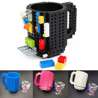 Wholesale lighted coffee cup - 10 Color Building Blocks Mugs DIY Creative Le go Drink Coffee Cup Men Women Children Personalized Decompression Water Cup Have stock WX-C13