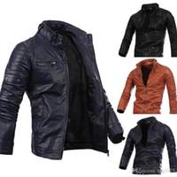 Wholesale Motorcycle Sheepskin Jackets Men - Fashion Men Motorcycle Black Male Leather Jackets Button Zipper Biker Pilot Sheepskin Coat Hot Sale M-2XL high quality