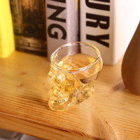 Wholesale Glass Souvenirs - Crystal Skull Head Wine Glasses 80ML Skull Vodka Whiskey Shot Glass Double Layer Pirate Vaccum Glasses Beer Mug Drinking Ware 200pcs OOA2318
