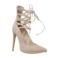 Zandina Womens Fashion Handmade 10.5cm Crossstrap Zipper Pointy High Heel Prom Pump Nude XD018