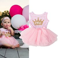 Wholesale Cute Gowns For Kids - Wholesale- Princess Girl Dress 2017 Girls Stripe Bow Cute Dress Baby Infant Party Dresses Tutu Kids Clothes For Newborn Baby First Birthday