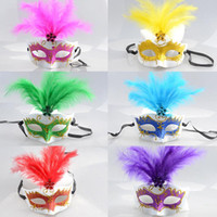 Wholesale princess mask for children - Halloween beauty feather mask Venice lace female queen princess costume party children half face masks DHL free gifts