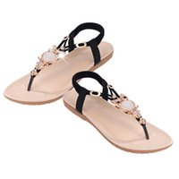 Wholesale Wholesale Black Beaded Applique - Wholesale-2016 Fashion Shoes Woman Sflat Sandals Women Thong Flip Flops Owl Beaded Casual Comfortable Non-Slip Women Shoes Zapatos Mujer