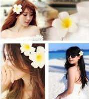 Wholesale Beaches Bali - Epackfree 50pcs Bali beach flower frangipani wedding hair clips Korea jewelry Korean bridesmaid accessories hairpin Hair clips for girls