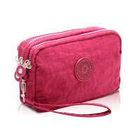 Wholesale Cheap Hand Hold - Korean Style Ladies Nylon Short Purse Women Three Zipper Mobile Phone Hand Holding Bag Large Capacity Wallet for Women Cheap