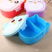 Wholesale Knife Spoon Fork Storage - Lunch Box Cute Owl Portable Plastic Tableware Outdoor Picnic Carry Food Storage Container Practical Partition Meal Boxes 5aq F R