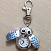 Wholesale Cute Animals Big Eyes - New Compact Cute Colorful Wings Open Close Wing Big Eyes Owl Pendant Necklace Chain Quartz Pocket Watch Gift