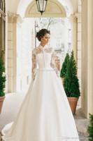 Wholesale High Collar Bolero Wedding - modest muslim wedding dresses with long sleeves bolero 2017 milla nova bridal wedding gowns high neckline chapel train
