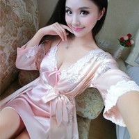 Wholesale Chinese Sexy Suit - Wholesale- Spring Summer Female Sexy Silk Flower Nightdress Suits Lace Robe Nightgown Sets Lady Chinese Floral Nightwear Women Lingerie