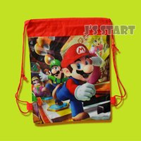 Wholesale Red Mario Backpack - 4 Styles kids boys non-woven fabric backpacks school bags super mario bros theme mochila drawstring bags free shipping