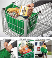Wholesale Large Foldable Shopping Bag - New Grab Bag Clip to Cart Trolley Shopping Bag Resuable Ecofriendly Large Capacity Non-Woven Foldable Tote Storage Organizer Carrier Bags