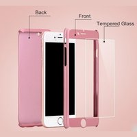 Wholesale iphone 5s glass screen protector gold online - Full Cover For Apple iPhone X S SE S Plus Hard PC Degree Full Body Case Free Glass Screen Protector