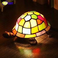 Wholesale Turtle Lamp Kids - FUMAT Bedside Lamp Stained Glass Turtle Light Living Room Home Decor Creative Table Lights Kids Gift Art Glass Turtle Table Lamp