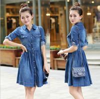Wholesale Korean Dresses For Plus Size - S-4XL size good quality women denim dress 2017 summer korean style extra plus size jean dresses for women vestido free shipping