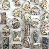 Wholesale Big Eye Ring - 50pcs Lot Big Natural Abalone Shell Rings Round, Square, Heart, Eye Shape Free Shipping