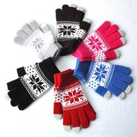 Wholesale Acrylic Snowflakes - Jacquard touch screen gloves snowflake flower maple pattern gloves for women men