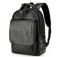 Wholesale Brown Schoolbags - Leather Men Backpack For Man 2017 Backpacks Black Backpacks Male Fashion Rucksack Schoolbags Black Backpack Business Laptop Bags