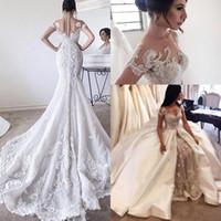vestido de novia sirena de organza perla al por mayor-2020 nuevo lujo de los vestidos de boda de la sirena de la ilusión Cap apliques de encaje de manga perlas del cristal con cuentas con vestido de novia más el tamaño de sobrefaldas