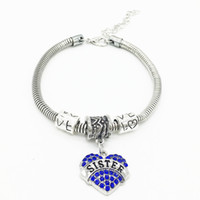 Hot Sale Pink White Blue Love Heart Sœur Best Friend Crystal Rhinestone Bangle Bracelets pour Femmes Cadeau