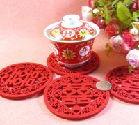 Wholesale Double Happiness Wedding Decorations - Chinese style wedding happy character cup mat decoration Non-woven double happiness coasters Cteative individuality placemat Free shipping