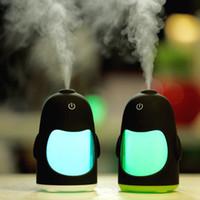 Wholesale penguin night light - Cute cartoon mini little penguin humidifier creative usb discus a night light Ultrasonic air purifier