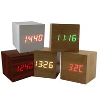 Wholesale Thermometer Usb - Multicolor Sound Control Wooden Wood Square LED Alarm Clock Desktop Table Digital Thermometer lamp Wood USB AAA Date Display
