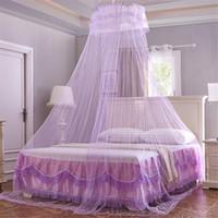 vorhänge möbel großhandel-Universal Elegante Runde Spitze Insekt Bett Baldachin Netting Vorhang Dome Polyester Bettwäsche Moskitonetz Wohnmöbel